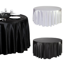 "1 piece 120"" Inch round Satin Tablecloth Skirt White/Black Color Table Cover Wedding Banquet-L1(China)"