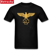 Latest Designs Gold Rammstein Eagle Logo Tshirts Men Males Custom Cotton Short Sleeve Big Size Tees Shirt(China)
