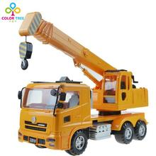 Kids Toy Vehicles Large Size Cranes Inertial Hoist Boys Engineering Vehicles Toy Car Rotatable Xmas Gifts For Children(China)