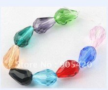 OMH wholesale 50pcs 8x6mm 10x14mm mixed RED PIK green Glass crystal drop teardrop spacer beads Fit pendant SJ16(China)
