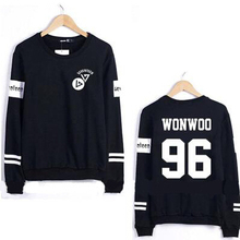Kpop seventeen member name printing o neck sweatshirt men women striped sleeve pullover hoodie for spring  sudaderas