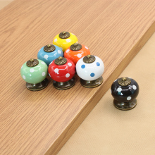 Round Polka Dot Ceramic Drawer Knob Door Cupboard Wardrobe Kitchen Pull Handle Home Furniture Decor Hardware