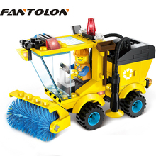 ENLIGHTEN City Construction Road Roller Forklift Truck Tractor Sweeper Truck Building Block Kids Toy Compatible lepin