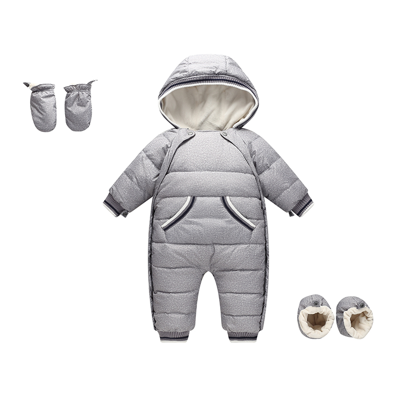 Baby  Down Rompers Winter Thick Down Climbing Clothes Fox Fur Girl Boy Suit Children's Winter Warm Jumpsuit Snowsuit