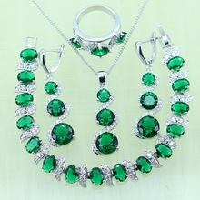 Reginababy Drop Earrings Silver color Green created Emerald Bracelets Jewelry Sets Women Crystal Earrings/Ring/Necklace/Pendant