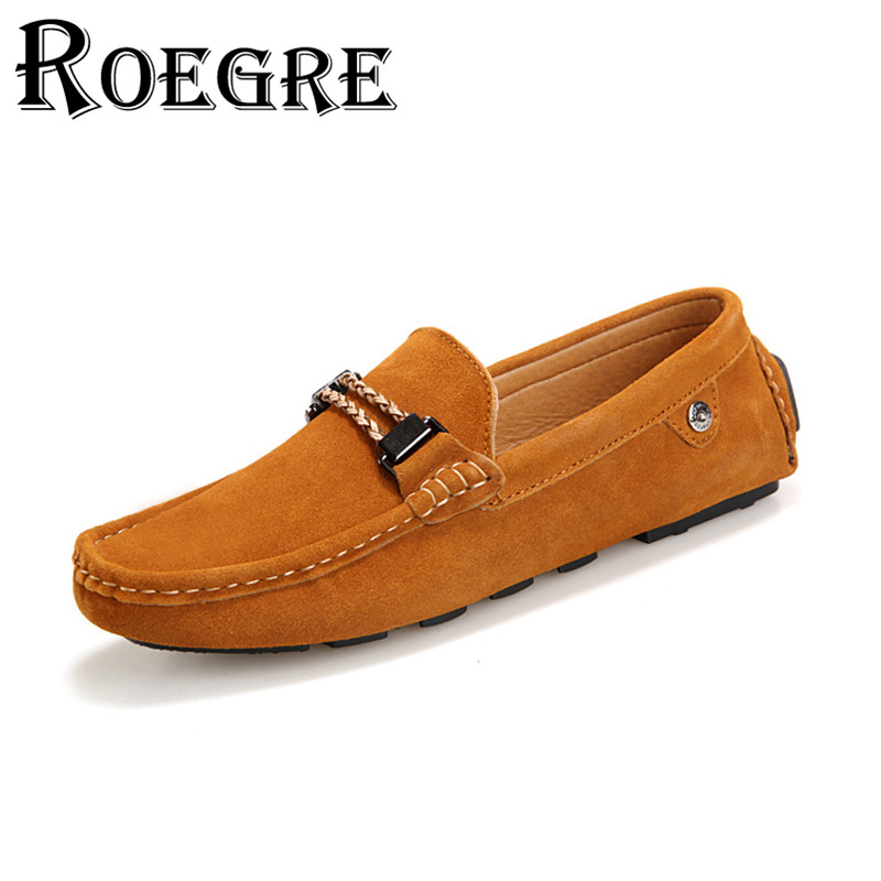 ROEGRE 2017 Spring Mens Loafers Leather Shoes Men Casual Shoes Luxury Slip On Moccasins Red Grey Yellow Blue Good Quality<br>