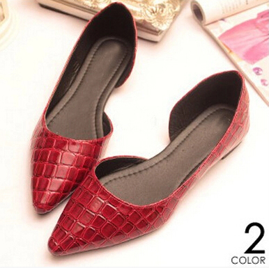Summer Women Flats Shoes New 2014  Brand Fashion Small pointed  pattern shoes women hollow burgundy leather shoes Large Side<br><br>Aliexpress