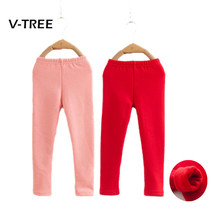 New Winter Baby Girls Leggings Warm Fleece Pants For Girl Pink Red Color Kids Warm Leggings Children Baby Clothes 2 3 4 6 Year