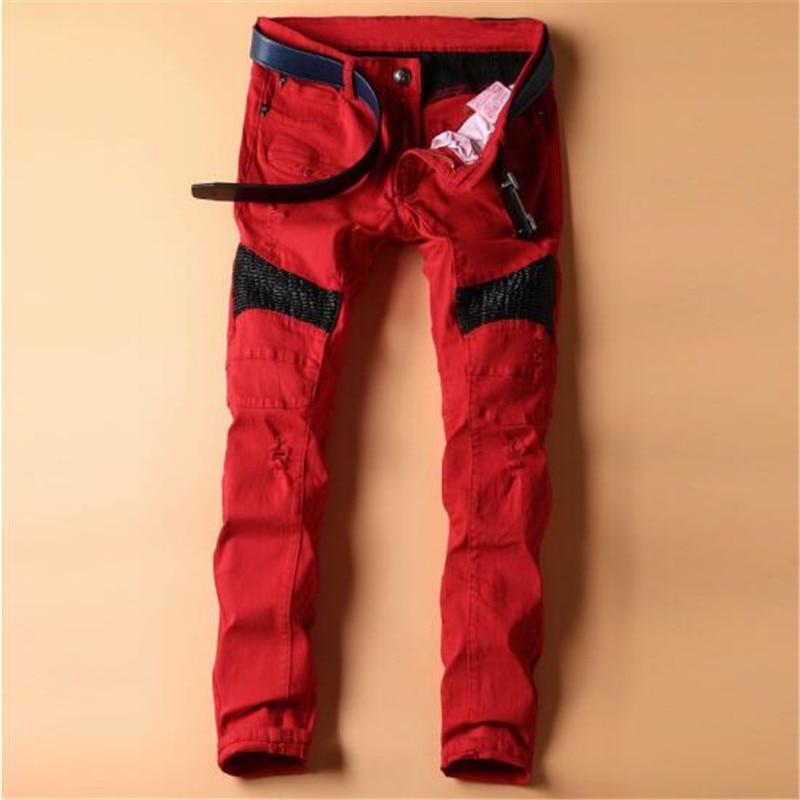 MenS Classic Jeans Men Biker Red Jean Homme Pants Pantalon Hommes Mens Overalls Fashion Masculino Jumpsuit Pantalones HombreÎäåæäà è àêñåññóàðû<br><br>