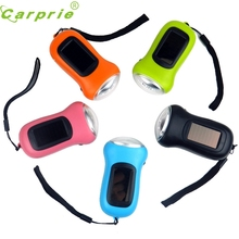Super 3LED Hand Crank Dynamo+Solar Power Rechargeable for Carabiner Camping Flashlight 170215