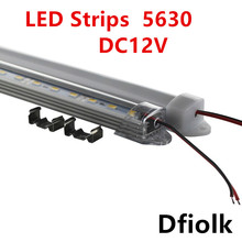 6pcs 30cm 5630 5730 DC12V hard rigid bar strip with U aluminum profile shell channel housing cabinet light kitchen light(China)