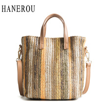 Buy HANEROU 2018 New Fashion Straw Handbag Women Summer Rattan Bag Handmade Woven Beach Crossbody Bags Women Bag Panelled Totes for $13.35 in AliExpress store