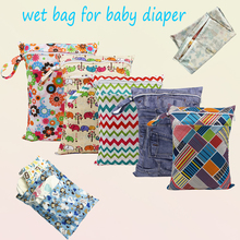 Monkey printed double pockets Diaper wet bag colorful Zippered Reusable Waterproof baby Cloth Diaper Wet Dry Bag 1pcs