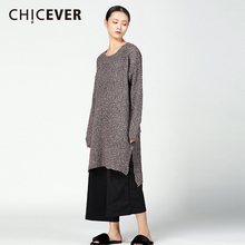 CHICEVER Winter Knitted Hollow Women Dress Top Long Sleeve Pullovers Loose Big Size Sweaters Dresses Female Clothes Fashion(China)