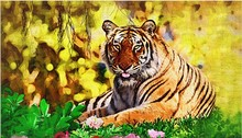 Fashion 3D DIY Diamond Painting Wild Tiger Creative Gift Home Decor Rhinestones In Settings Hand Embroidery Cross Stitch B449(China)