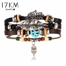 17KM Hamsa Hand Bracelets For Women Men 2017 Fashion Wristband Female Owl Leather Bracelet Leaves Vintage Punk Turkish Jewelry(China)