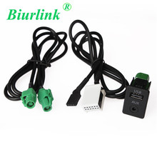 2 in 1 USB AUX Switch + Wire Harness Cable Adapter for BMW 3 5 series E87 E90 E91 E92 X5 X6 USB Round hole Cable(China)