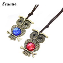 Seanuo Maxi Alloy bronze Owl Necklace Chain Bird Colorful Pendant 2016 Fashion Jewelry For Women Statement Charm Collar necklace