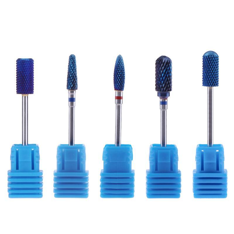 5pcs/set Blue Tungsten Nail Drill Bit Carbide Burrs Nano Coating Round Nail Bits For Manicure Professional Nail Tools Nail Mills<br>