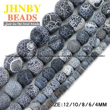 JHNBY Black Weathered carnelian beads Natural Stone Top quality Round Loose beads ball 4/6/8/10/12MM Jewelry bracelet making DIY