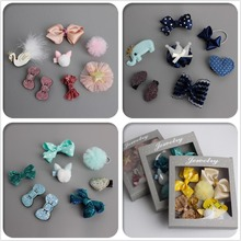 2017 NEW 8PCS Children Kids Hair Accessories Gift box Set Boutique Girls Bowknot kitty Hairpins Hair Clips Elastic Hair Bands T1(China)