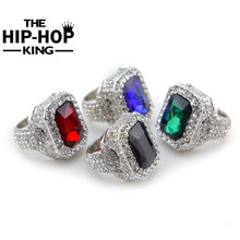 Men Hip Hop Jewelry Iced out Gold/Silver Plated Red Green Ring Fashion Bling Full Rhinestone Crystal Stone Punk Rings Gift(China)