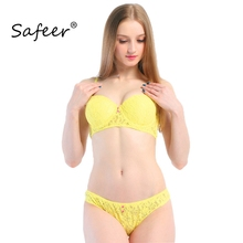 Buy Lace Bra Set Women Brands Design Sexy Push Underwear Brief Lingerie Set Bras Panties Sets Half B Cup Strapless Yellow BH for $9.22 in AliExpress store
