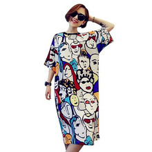 Plus size women dress 2017 new style cotton cartoon print long t shirt dress summer casual loose robe maxi party tshirt dresses
