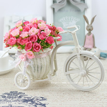 High Quality  meters samll rose artificial flower set rattan vase + flowers home decoration Birthday Gift