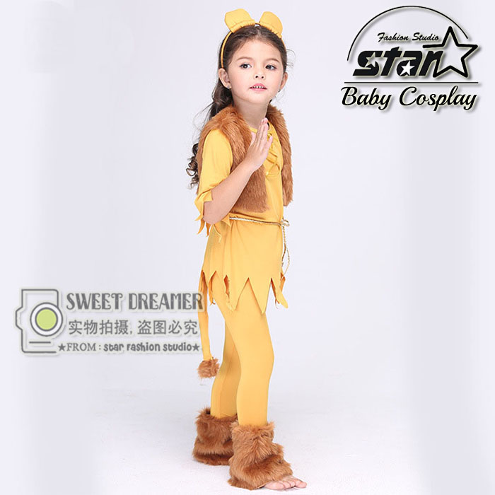 2016 New Baby Girl Clothing Set Milk Silk Lion King Cosplay Clothing Set Headwear+Dress+Vest+Legging Halloween Cosplay Costumes<br>