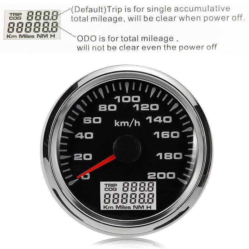 New 85mm GPS Speedometer 200km/h GPS Speedometer Gauge 9-32V Seven-color backlight Motorcycle Marine Boat Buggy 5