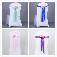 20pcs Unique Pink Artificial flower Silk Chair Sash for Weddings Beauty Chair Cover Band Decoration fiestas Navy Blue Champagne