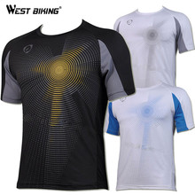 WEST BIKING Brand Design Men O-neck Quick Dry T-shirts Male Bike Sports Cool Top Bicycle Running Cycling Short Sleeve Jersey