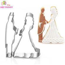 Bride Groom Shape Stainless Steel Cookie Cutter Wedding Forms Biscuit Mold Kitchen Wedding Pastry Confectionery Tools