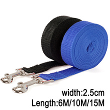 Width 2.5cm Long Nylon Dog Leashes 6M/10M/15M Pet Puppy Training Straps Black/Blue Dogs Lead Rope Belt Leash(China)