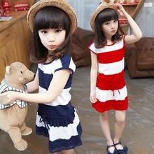 Blue red white navy style summer girls dress children teen age size 3 4 5 6 7 8 9 10 11 12 13 14 years old