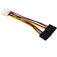 1Pcs Serial ATA SATA 4 Pin IDE Molex to 2 of 15 Pin HDD Power Adapter Cable