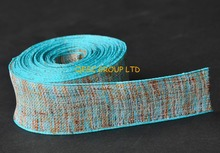 LT blue Multicolor hemp cotton ribbon Plaid ribbon for fascinator hair accessory dress headband hat bag clothes decoration belt(China)