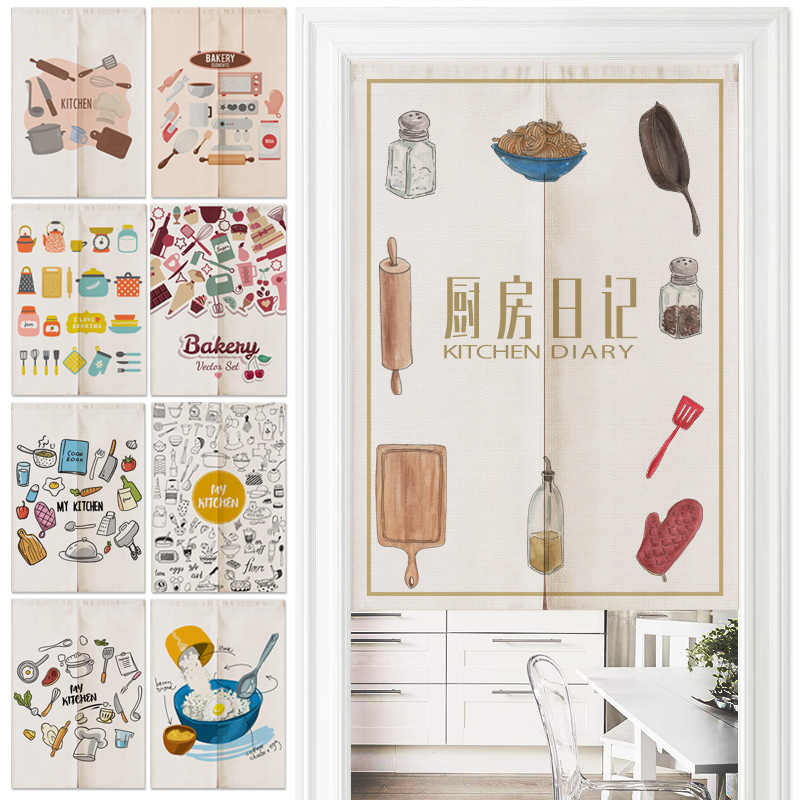 Japanese Restaurant Kitchen Decor Linen Door Curtain Noren Bedroom Curtains Home Entrance decoration Customizable curtain