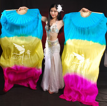 Real Silk Long Fan Veil For Belly Dance Thicker Oriental Dancing Veil Fan Right Left Hand 180cm Sky Blue Yellow Rose
