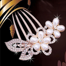 Wedding Bride Five-Teeth Hairstyle Comb Crystal Bead Rhinestone Inlaid Hair Comb Hair Decoration Banquet Party Hair Pin 7 Models