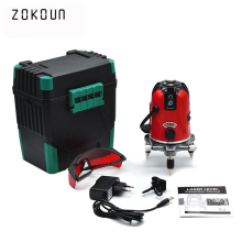 EU plug red 5 lines 6 points outdoor mode available tilt functional self-leveling 360 rotary cross line laser level(China)