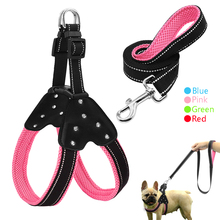 Reflective Nylon Rhinestone Dog Harnesses Step in Soft Mesh Padded Small Dog Puppy Harness Leash Set Safety For Walking S M L(China)