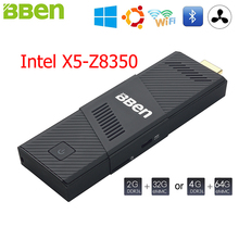 BBen MN9 Mini PC Stick Windows 10 Ubuntu Intel X5 Z8350 Quad Core 2G 4GB RAM Mute Fan WiFi Smart TV Stick PC Mini Computer Micro(China)