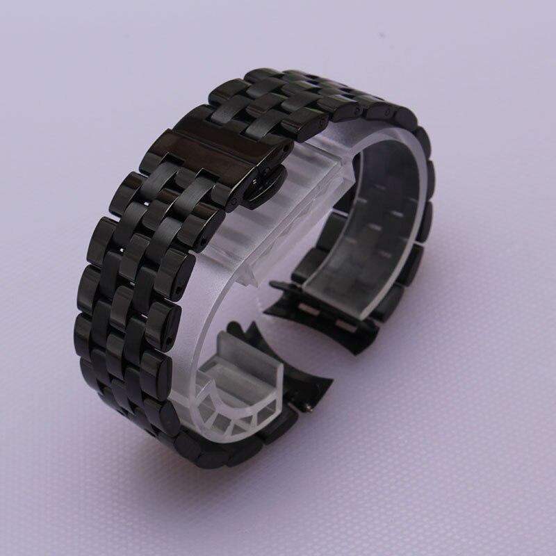 Replacement curved end watchbands straps 16mm 18mm 20mm 22mm Black stainless steel bracelet folding deployment fit saat hour men<br>