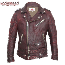 MAPLESTEED Tanned Leather Jackets Motocycle Black Green Red Vintage Punk Rock Leather Jacket Men's Biker Coat Motor Clothing 145(China)