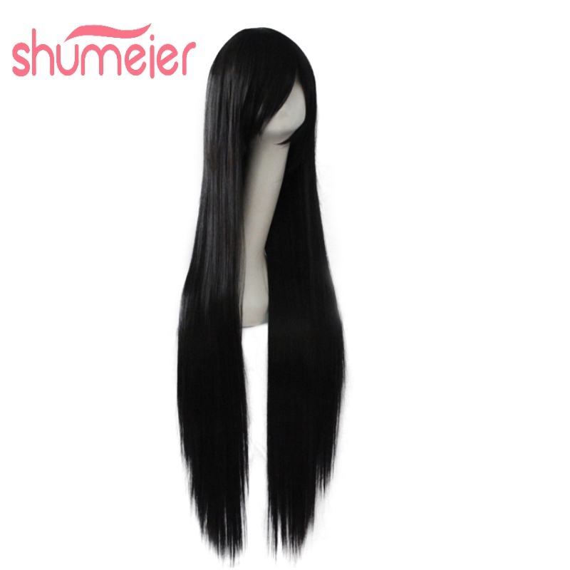 Shumeier 16Colors Black/Silver 100cm Long Straight Synthetic Hair Heat Resistant Pink Red Cosplay Wigs(China (Mainland))