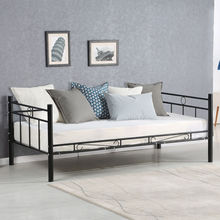 Giantex Twin Size Daybed Sofa Bed Bedroom Modern Metal Steel Bed Frame Solid Support Guest Dorm Home Furniture HW56068+(China)