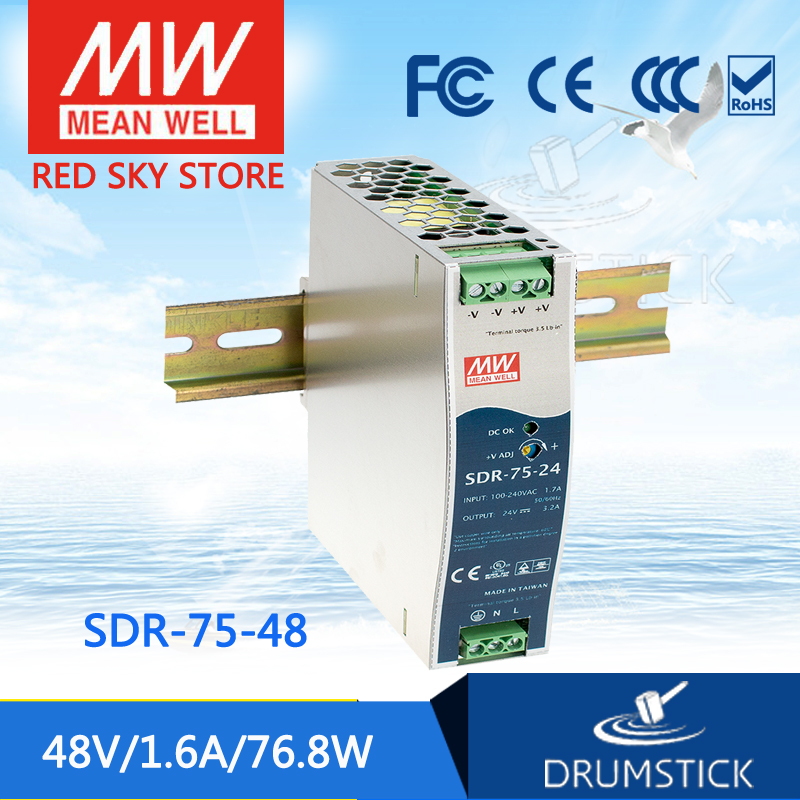 Advantages MEAN WELL SDR-75-48 48V 1.6A meanwell SDR-75 48V 76.8W Single Output Industrial DIN RAIL with PFC Function<br>