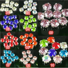 DIY,30pcs/bag,SS20(5mm),10 color roundness glass crystal rhinestone Handmade sew on claw rhinestone stone Silver bottom